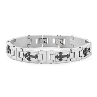 Stainless Steel Diamond Accent Bracelet with Black Cross