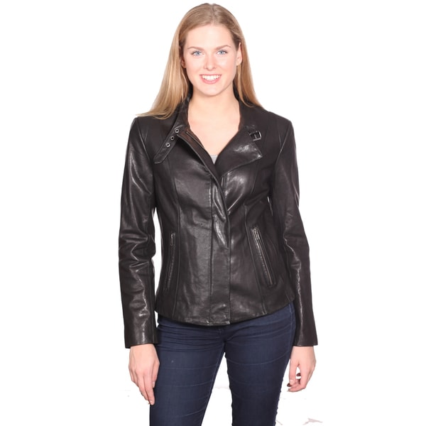 NuBorn Leather Women's 'Charlene' Leather Moto Jacket 14263459