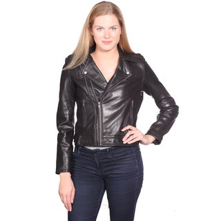 NuBorn Women's 'Emmy' Black Leather Moto Jacket