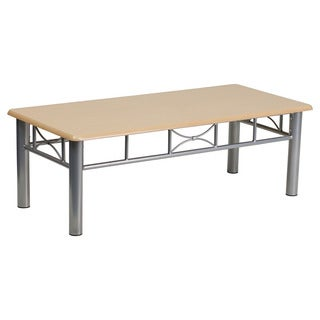 Offex Natural Laminate Coffee Table with Silver Steel Frame
