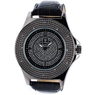 Ice Maxx Men's Black Leather Diamond Quartz Watch