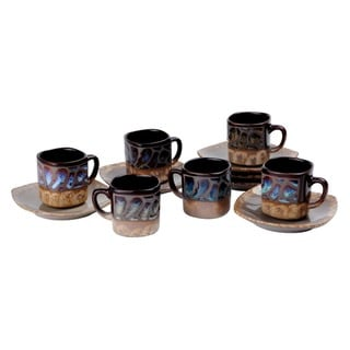 Stoneware Demitasse Espresso Turkish Coffee Cups and Saucers (Set of 6)