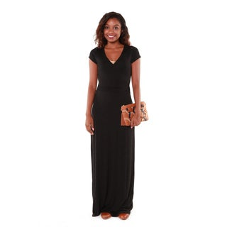 Hadari Women's Black V-neck Maxi Dress