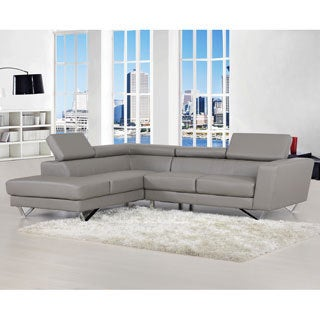 Delia Leather Modern Left Chaise Sectional Sofa Set