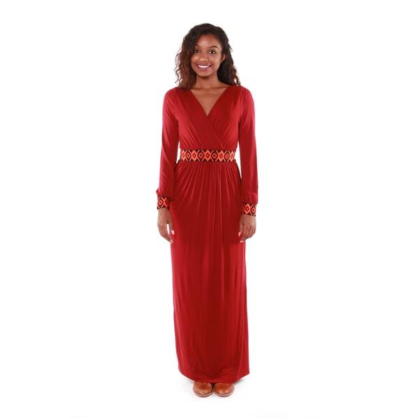 Hadari Women's Deep V-neck Maxi Dress