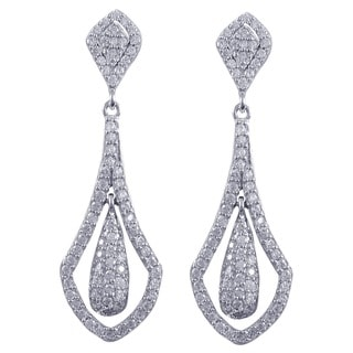 Luxiro Sterling Silver Cubic Zirconia Floating Teardrop Dangling Earrings