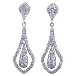 Sterling Silver Cubic Zirconia Floating Teardrop Dangling Earrings