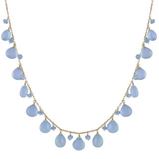14k Yellow Gold Apatite and Dyed Blue Chalcedony Necklace