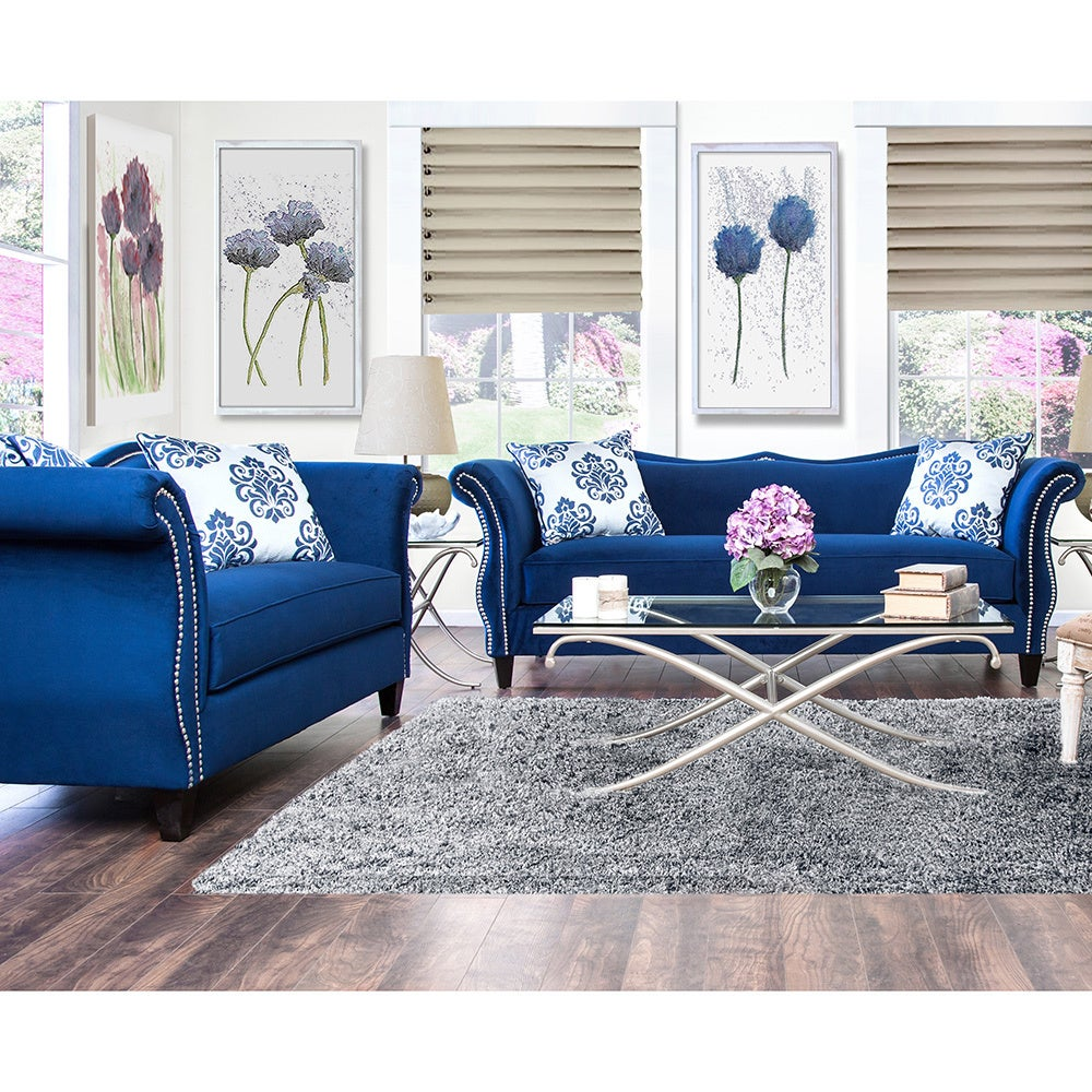 furniture of america othello 2 piece royal blue sofa set overstock