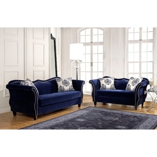 Modern Denim Blue Fabric Sectional Sofa Set Modern Sectional Sofas Furniture of America Othello 2-piece Sofa Set
