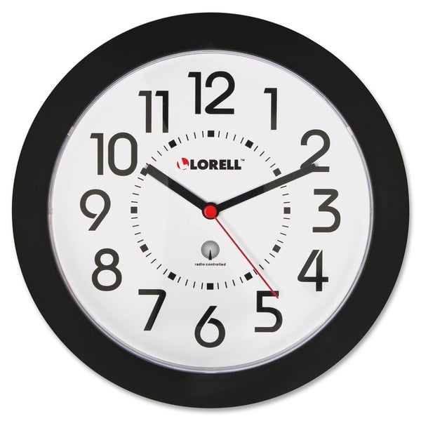 Lorell Black Radio Controlled Wall Clock