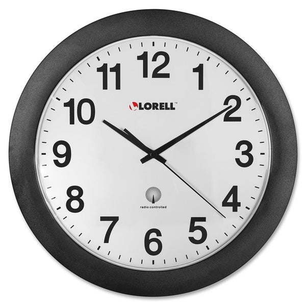 Lorell Radio Controlled Black Wall Clock
