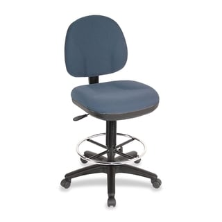 Lorell Pneumatic Adjustable Multi-task Stool Fabric/ Chrome Blue