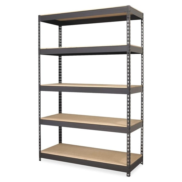 Lorell Riveted Black Metal Shelving