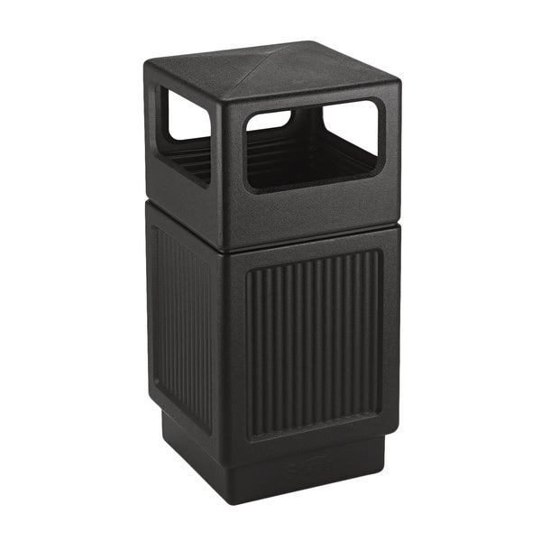 Safco Canmeleon Square 38-gallon Textured Black Side-open Receptacle