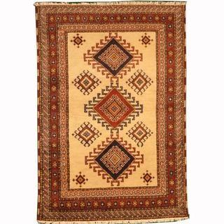 Herat Oriental Indo Hand-knotted Kazak Ivory/ Navy Wool Rug (4'1 x 5'11)