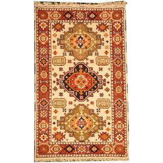 Herat Oriental Indo Hand-knotted Tribal Kazak Ivory/ Rust Wool Rug (3' x 5')
