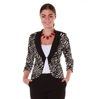 Hadari Women's Lace Print Fashion Blazer