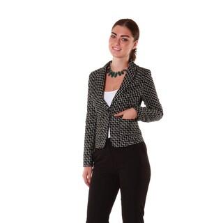 Hadari Women's Black Geometric Casual Blazer