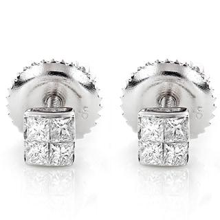 Luxurman 14k Gold 1/3ct TDW Princess-cut Diamond Earrings (G-H, VS1-VS2)