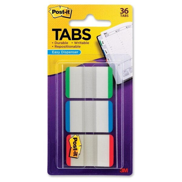 3M Post-it Durable Filing Tab Assorted Colors 36 Tabs (1 x 1.5 inches)