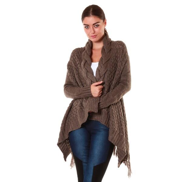 Hadari Women's Knit Fringe Cardigan
