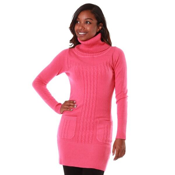 Hadari Women's Cashmere Blend Turtleneck Tunic with Pockets