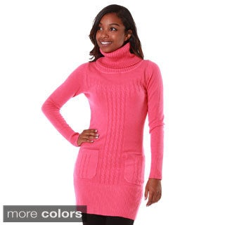 Hadari Women's Cashmere Blend Turtleneck Tunic with Pockets