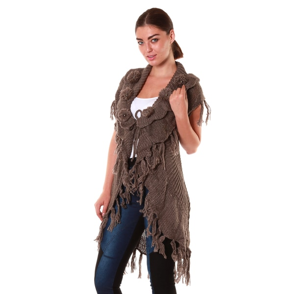 Hadari Women's Sleeveless Knit Fringe Cardigan