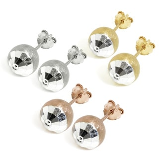 Eternally Haute Sterling Silver Satin and Hammered Cut Ball Stud Earrings