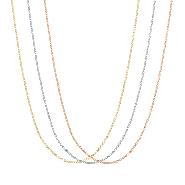 Gioelli Silver plated and Gold Plated Rope Replacement Chains (Set of 3)