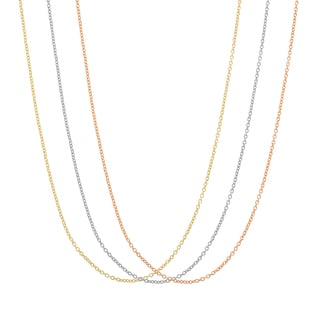 Gioelli Silver Plated and Gold Plated Cable Replacement Chains (Set of 3)