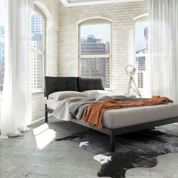 amisco delaney full size metal platform bed 54 inches with fabric headboard. Black Bedroom Furniture Sets. Home Design Ideas