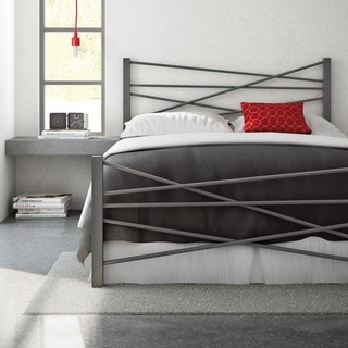 Amisco Crosston Queen Size Metal Headboard and Footboard 60-inches