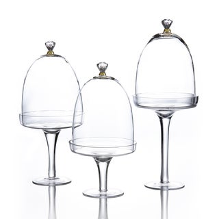 Glass Pedestal Plates with Domes (Set of 3)