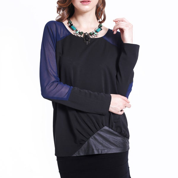 Mossee Contrast Black/ Navy Chiffon Long Sleeve Top