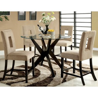Furniture of America Novae 5-Piece Round Glass Counter Height Dining Set