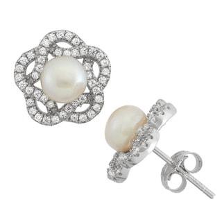 Gioelli Sterling Silver Freshwater Pearl Flower Stud Earrings