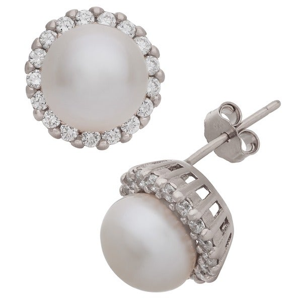 Gioelli Sterling Silver Freshwater Pearl Stud Earrings