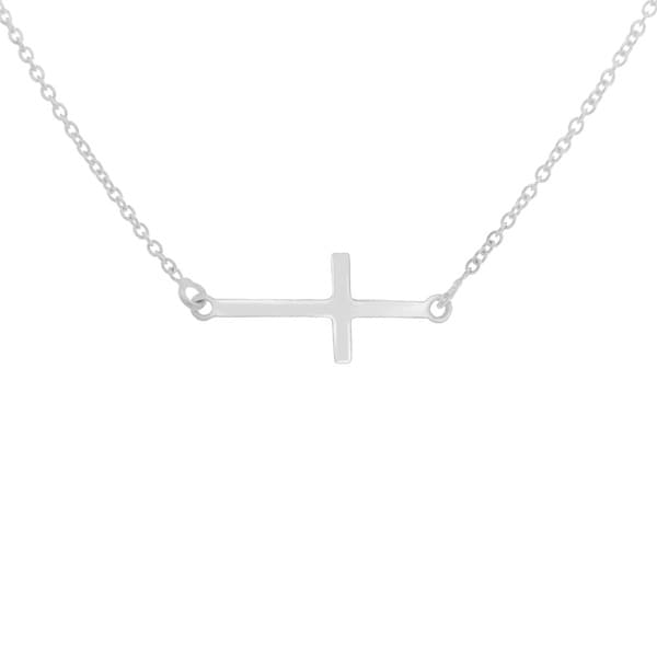 Sterling Essentials Silver Sideways Cross Adjustable Necklace