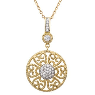 Sterling Essentials Gold over Silver Cubic Zirconia Filigree Necklace