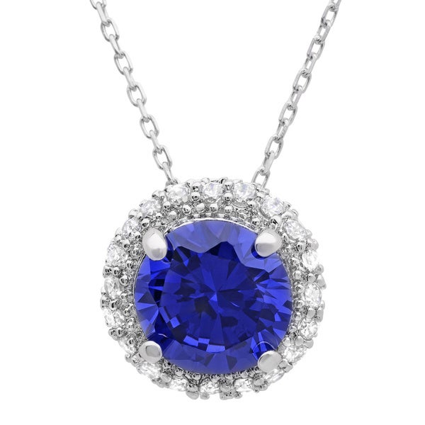 Sterling Essentials Silver Purple Cubic Zirconia Round Pendant Necklace