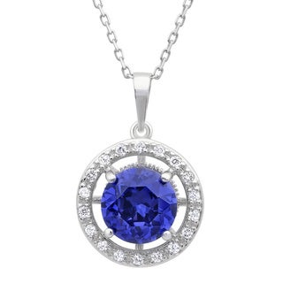 Sterling Essentials Silver Purple Cubic Zirconia Halo Necklace