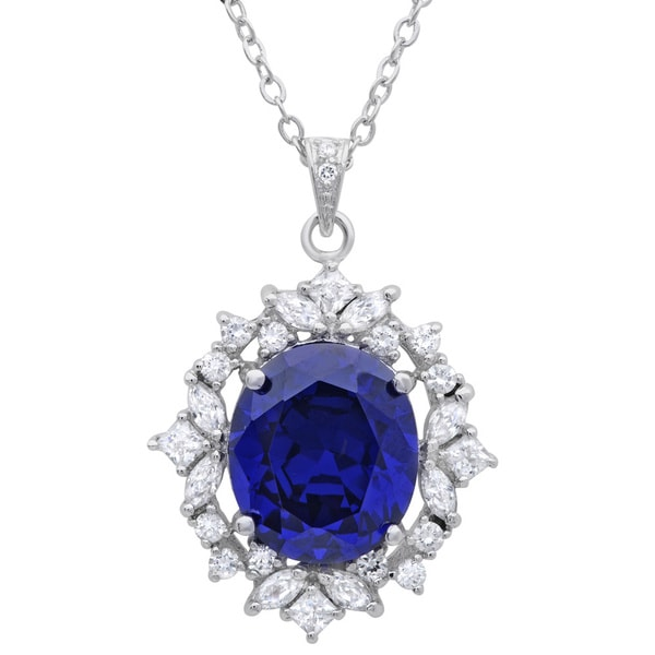 Sterling Essentials Sterling Silver Purple Cubic Zirconia Cluster Pendant Necklace