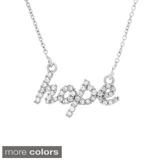 Sterling Essentials Silver Cubic Zirconia 'Hope' Necklace