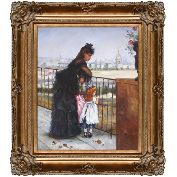 Berthe Morisot 'Woman and Child on a Balcony' Hand-painted Framed Canvas-art
