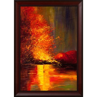 Justyna Kopania 'River' Hand-painted Framed Canvas-art