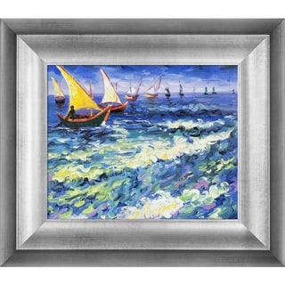 Vincent Van Gogh 'Seascape at Saintes Maries de la Mer' Hand-painted Framed Canvas-art