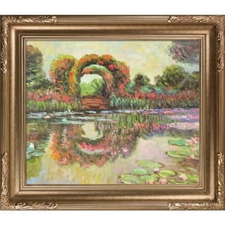 Claude Monet 'Blutentore in Giverny' Hand-painted Framed Canvas-art