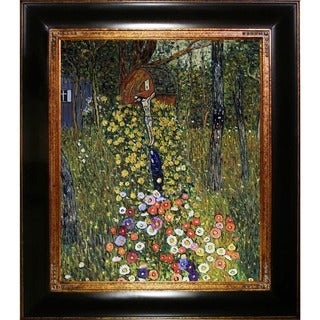 Gustav Klimt 'Cottage Garden with Crucifix (Luxury Line)' Hand-painted Framed Canvas-art